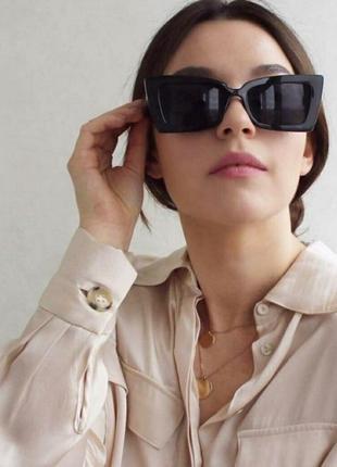 Черные имиджевые очки большие тренд ретро винтажные окуляри сонцезахисні