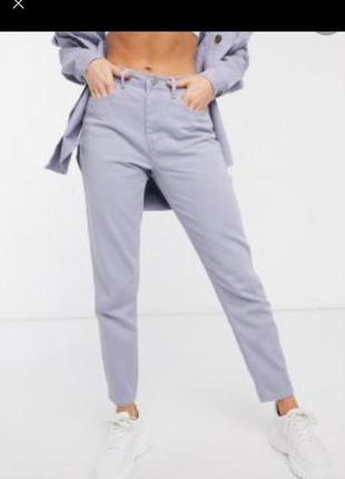 Серо фиолетовые джинсы момы бойфренды бананы высокая посадка