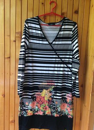 Платье в полоску с цветочным принтом gina benotti
