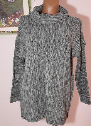 Меланжевый свитер с мягкой горловиной
