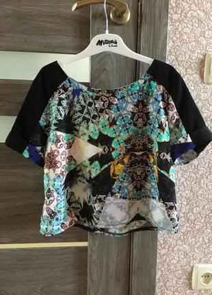 Укороченная блуза топ цветная, молния по спинке river island