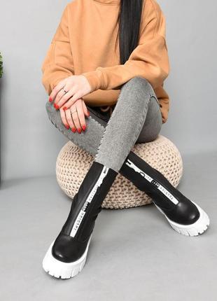 Ботинки кожа чёрный 36-412 фото