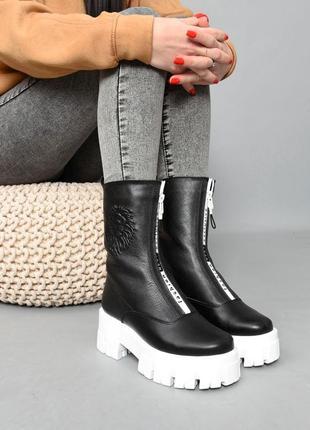 Ботинки кожа чёрный 36-414 фото