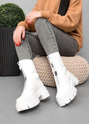 Ботинки кожа белый 36-413 фото