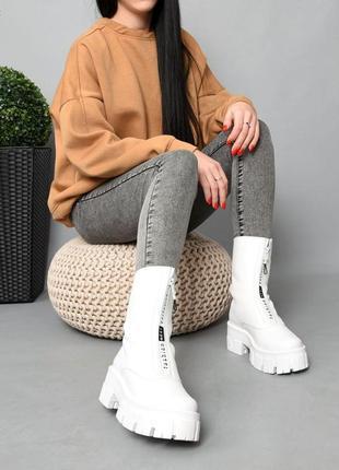 Ботинки кожа белый 36-412 фото