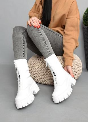Ботинки кожа белый 36-415 фото