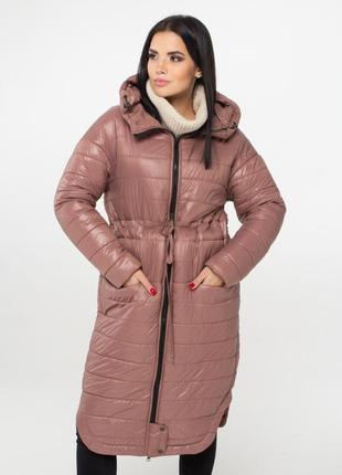 Женское демисезонное удлиненное пальто из плащевки