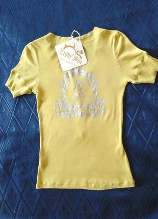 Лаймовая футболка с серебристым принтом на спине eight sin