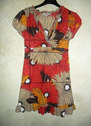 Легкое хлопковое в цветах платье туника блуза debenhams xxs-xs 8