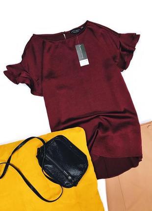 Атласная блуза рукав с рюшами dorothy perkins