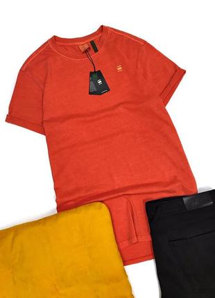 Крутая мужская футболка оранжевая g-star raw оригинал