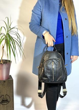 Женский кожаный рюкзак черный / из кожи / женские рюкзаки