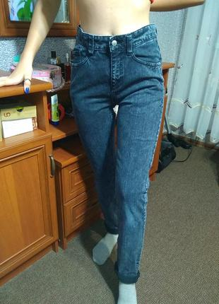 Фирменные штаны джинсовые , высокая посадка 👍 серый деним- m l