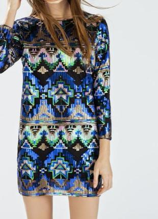 Нарядное платье в пайетках от zara