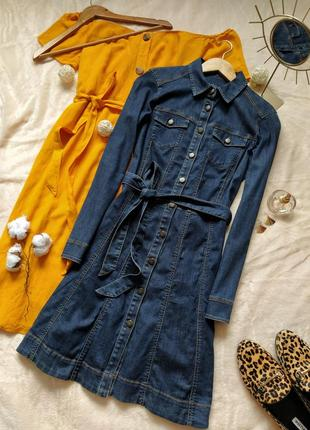 Стильне джинсове плаття під поясок edc