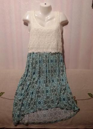 Платье вискоза+котон длинное (пог-45 см) индия