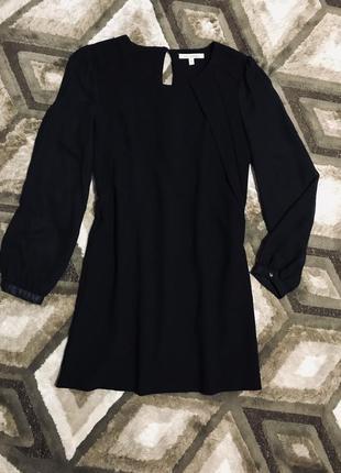 Черное шифоновое платье с объемными рукавами свободного кроя next2 фото