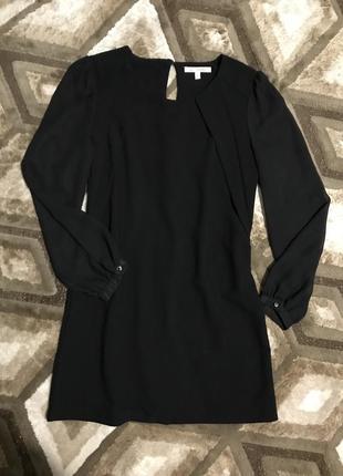 Черное шифоновое платье с объемными рукавами свободного кроя next4 фото