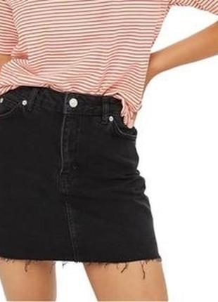 Юбка чёрный джинс мини