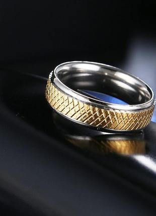 Кольцо из нержавеющей стали, позолота 18к