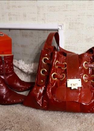 Брендовая кожаная лаковая сумка jimmy choo
