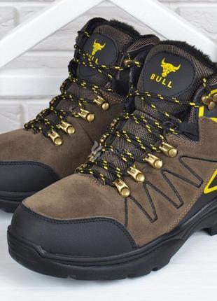 Ботинки мужские зимние трекинговые bull хаки укрепленный носок