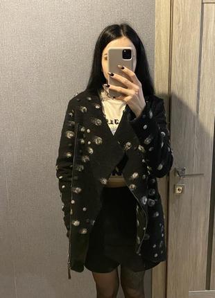 Пальто шерстяное демисезонное косуха