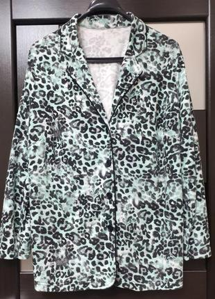 Трендовый мятный пиджак жакет в пижамном стиле кофта анималистической расцветки