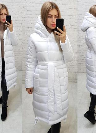 Довге зимове пальто куртка курточка оверсайз кокон ковдра з капішоном і поясом