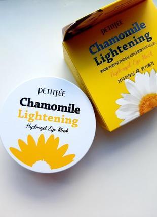 Осветляющие патчи против темных кругов petitfee chamomile lightening hydrogel eye mask