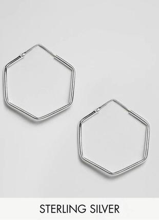 Геометрические серьги шестиугольник серебро 925 проба asos  kingsley ryan