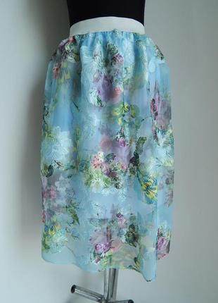 Нарядная юбка сеточка на подкладке с цветочным принтом-вышивкой