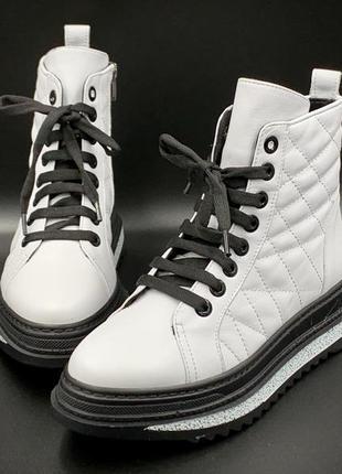 Женские кроссовки кожаные на байке, евро - зима; производство -  турция