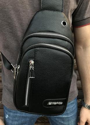 Сумка через плечо dieke мужская слинг кожзам городская черная