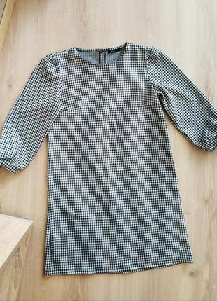 Платье в клетку с рукавами фонариками mohito