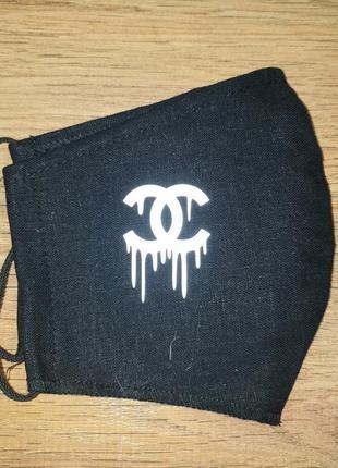 Многоразовая двухслойная защитная маска для лица лён со светоотражающей наклейкой