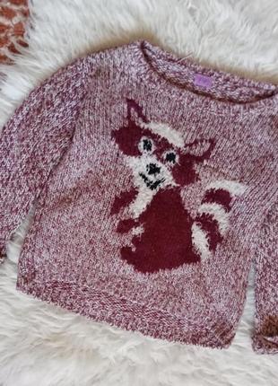 Вязаной свитер с лисой f&f