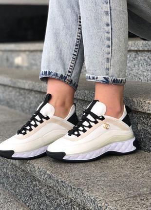 Chanel white женские кроссовки шанель в белом цвете