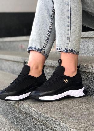 Chanel black женские кроссовки шанель в черном цвете