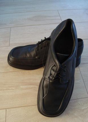 Черные массивные кожаные мужские туфли 44разм