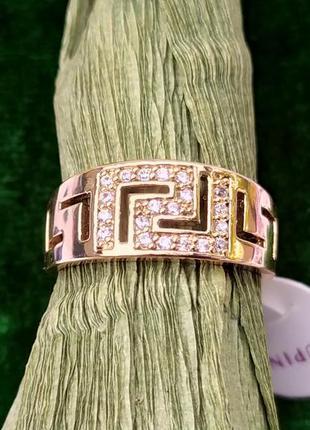 Позолоченное кольцо р.19 с цирконами, позолота 18 карат 585 пробы, xuping