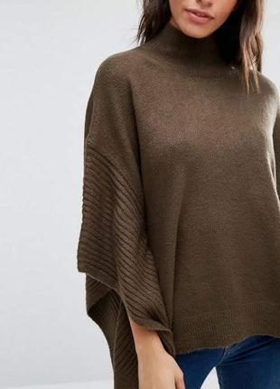 Пончо свитер балахон бохо макинтош летучая мышь oasis коричнеый шоколадный