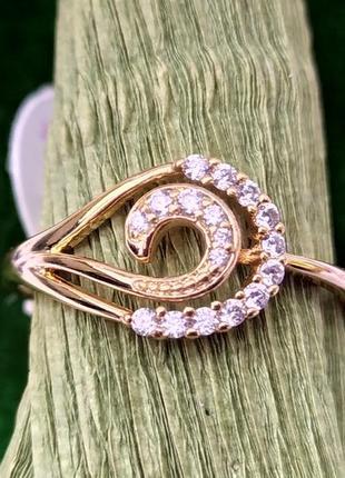 Позолоченное кольцо р.20 с цирконами, позолота 18 карат 585 пробы, xuping