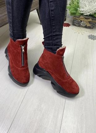Ботинки на зиму, полуботинки на платформе, натуральная замша, набивная шерсть