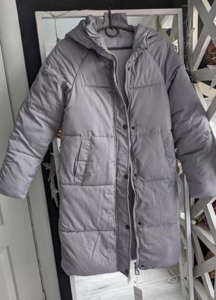 Новая серая куртка демисезонная, удлиненная куртка пальто