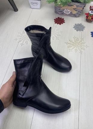 Ботинки зима, полуботинки на танкетке, натуральная кожа, набивная шерсть