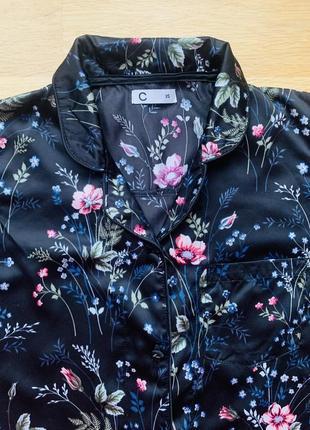 Верх от атласной пижамы с цветочным приветом, размер xs-s