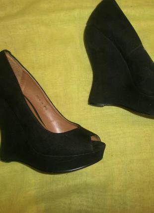 Замш черные платформа туфли босоножки