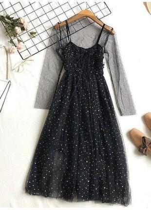 Невероятно красивые блестящее платье миди со стразами двойка