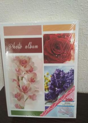 Фотоальбом на 200 фото 10*15  см цветы